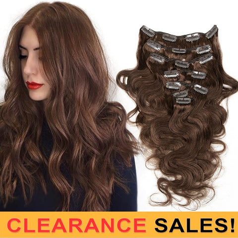 MRSHAIR Clip Ins Human Hair Body Texture Brown Full Head