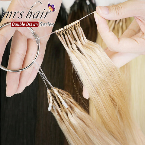 MRSHAIR Double Drawn Human Hair 8D Micro Beads Hair Extensions Invisable 50grams