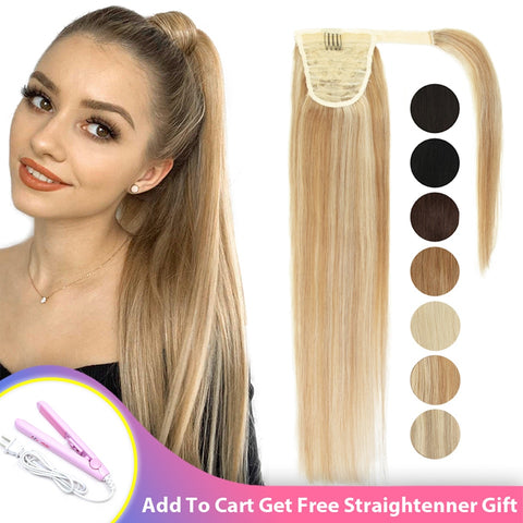 MRSHAIR Ponytail Human Hair Remy Natural Blonde Brown