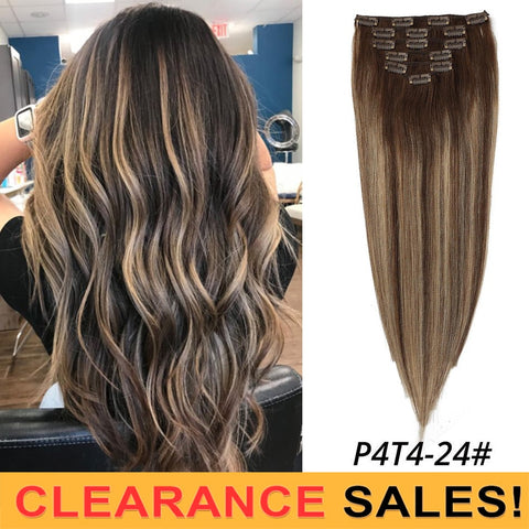 MRSHAIR Ombre Balayage HighlightsClip in Human Hair Extensions 7pcs/set