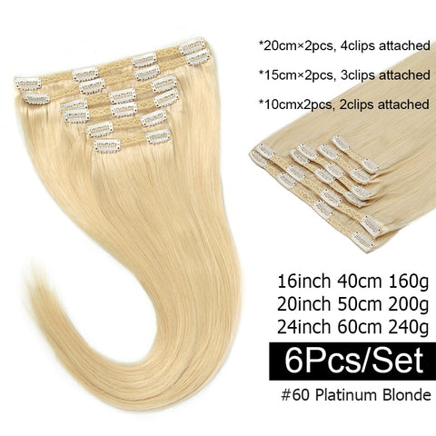 Natural Hair Extensions Thick Ends 6Pcs/set Clip In Hair Extensions 240G