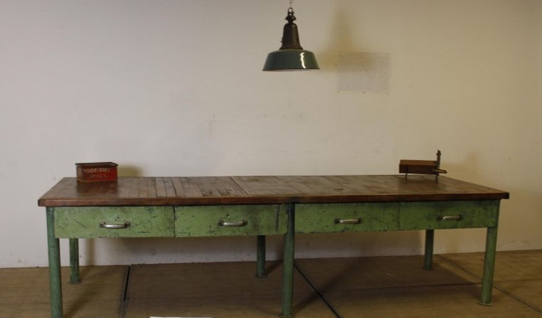 Vintage industrial European workbench table counter kitchen island 3.0 mt #2512 september container