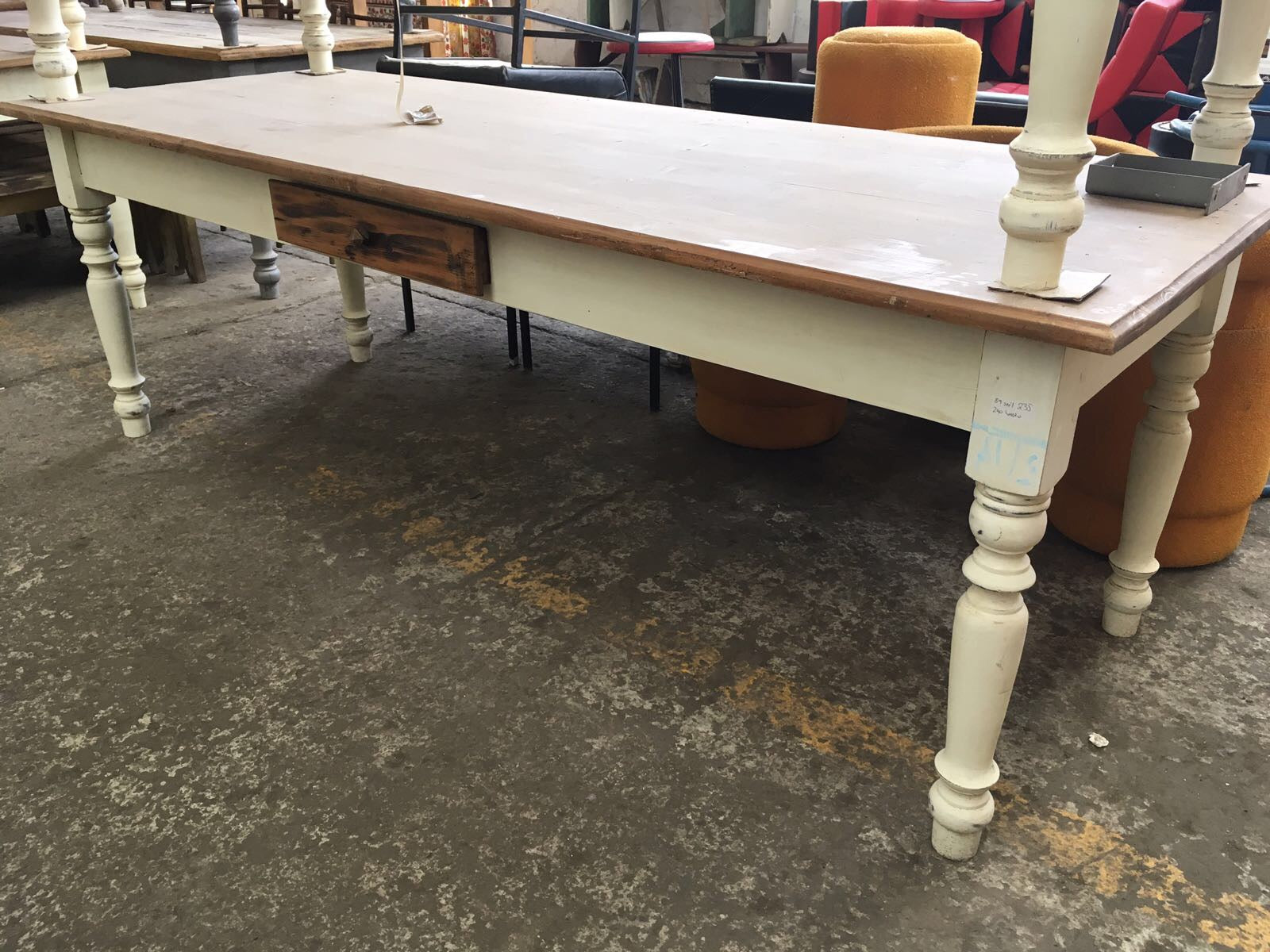 Vintage industrial European kitchen farmhouse dining table 2.2 mt #2102 in Byron
