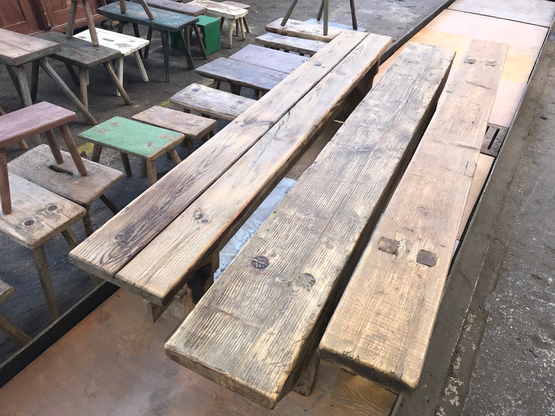 Vintage industrial European farmhouse bench seat  #2105
