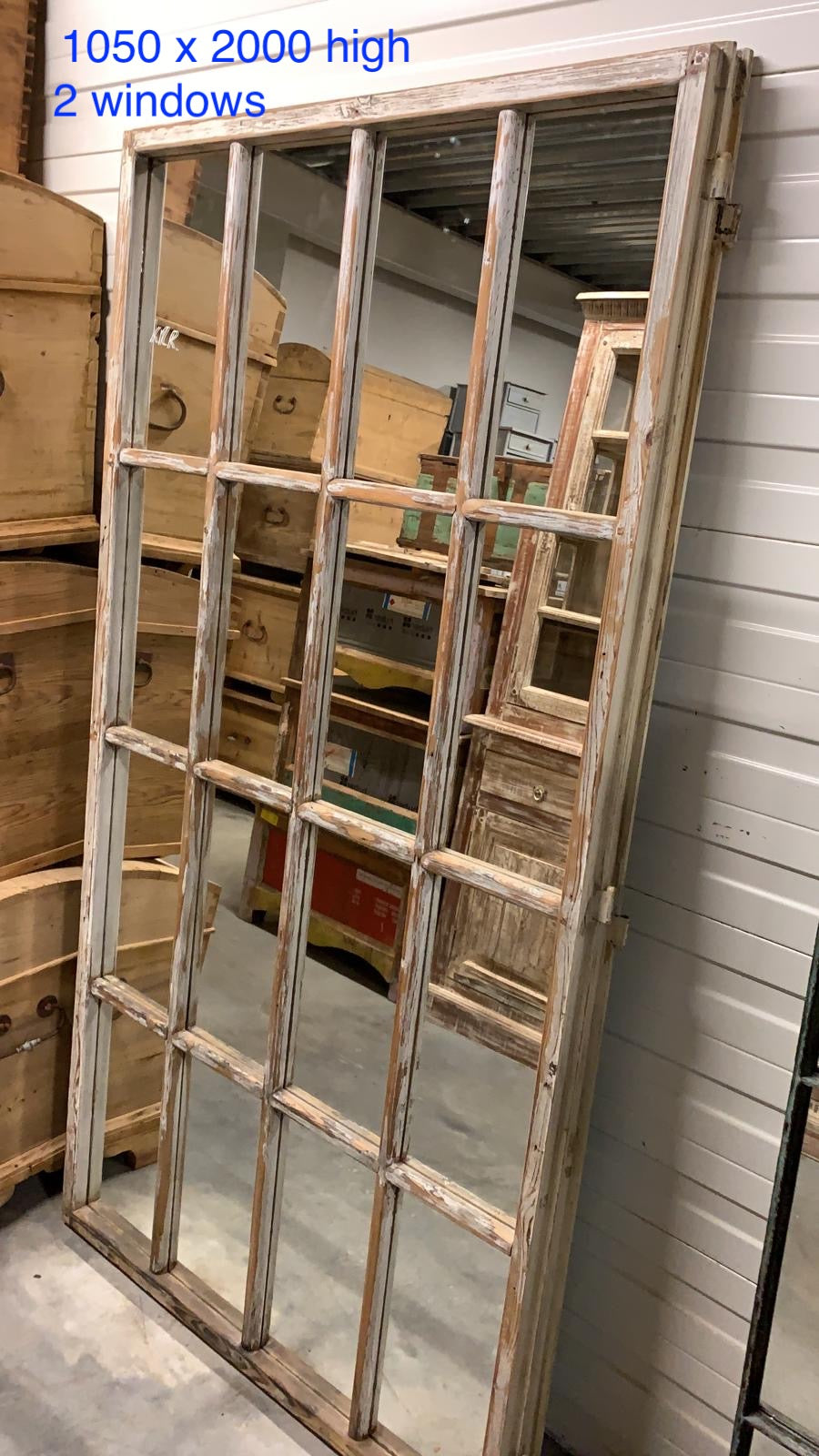 Vintage French wooden window MIRROR # 2715 April container
