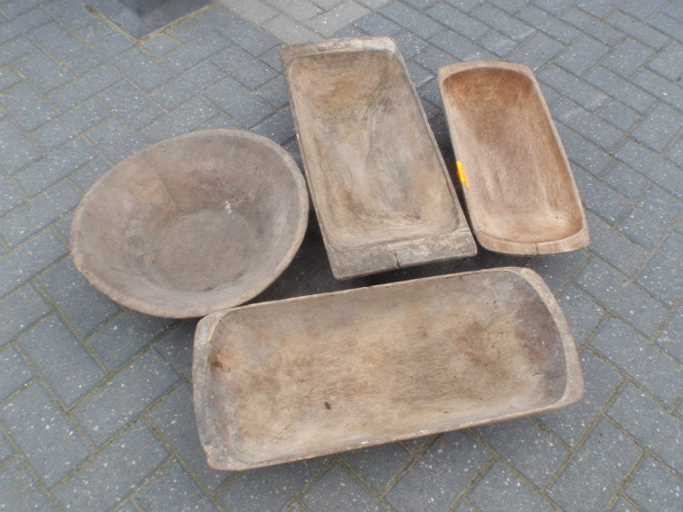 Vintage industrial Turkish wooden dough bowls #1064