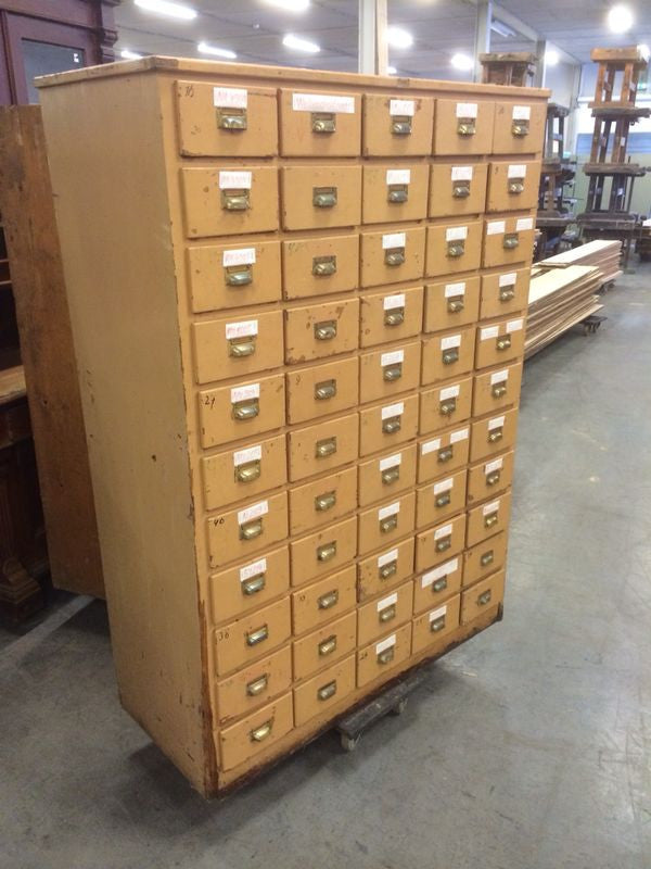 Vintage industrial French 40s wooden bank of drawers #1066 55 drawers