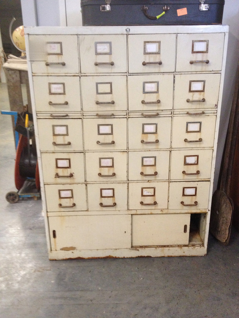 Vintage industrial French 40s metal bank of drawers #1071
