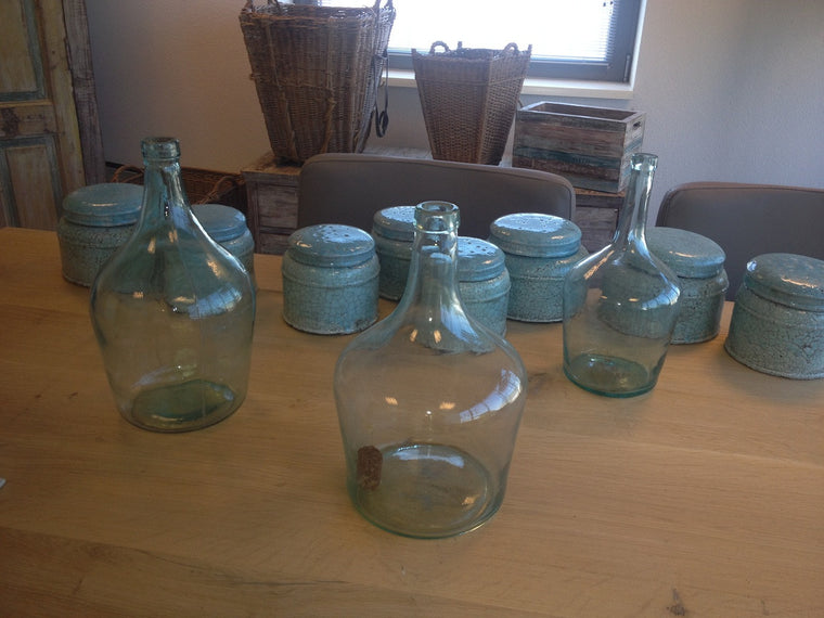 Vintage industrial French long neck glass demijohns  #1075.
