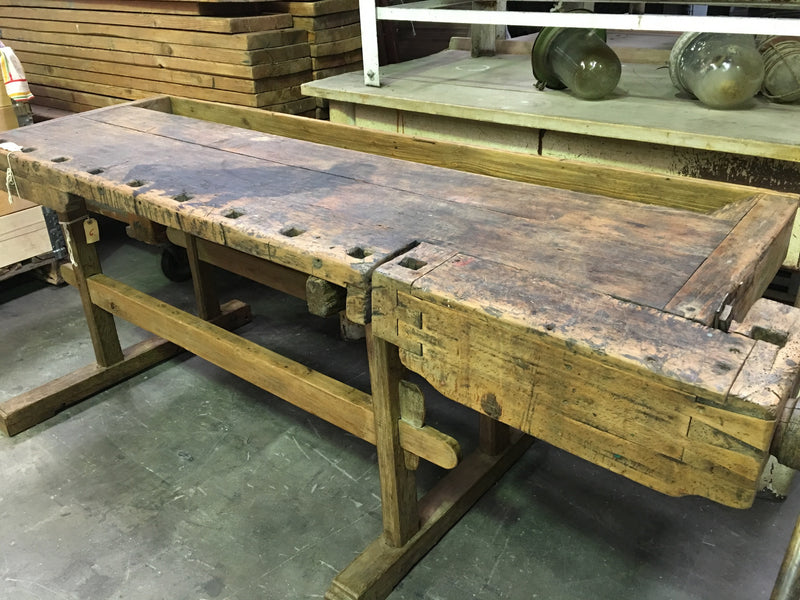 Vintage industrial Hungarian carpenters workbench 1920s #1102