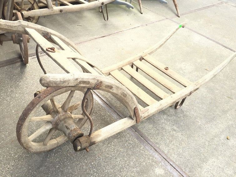 Vintage industrial French wooden grain sack wheelbarrow #1120