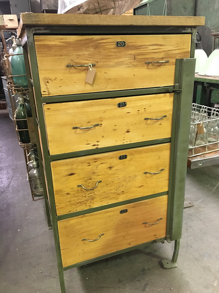 Vintage industrial European warehouse cabinet #1204