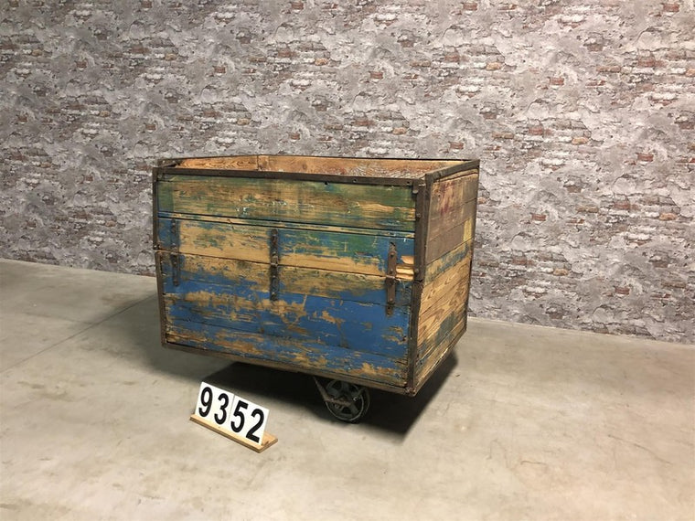 Vintage industrial Czech warehouse trolley  #2723