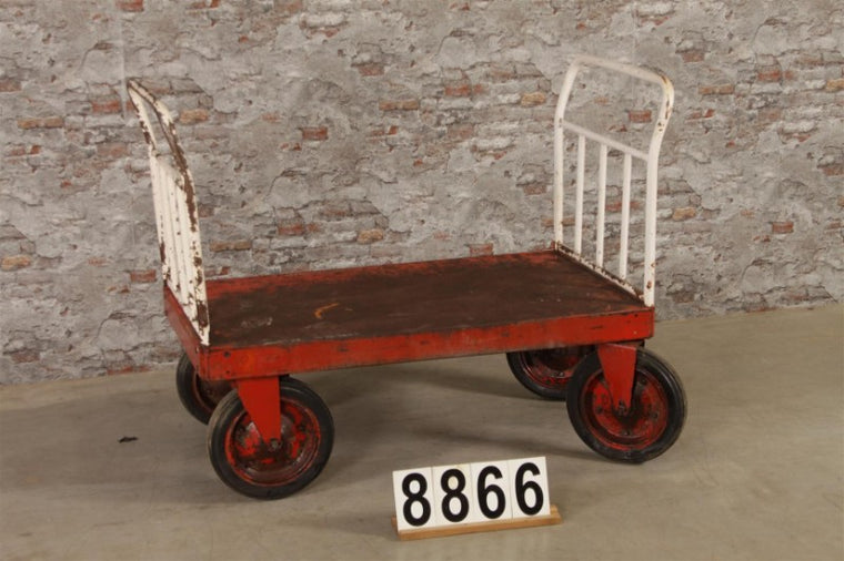 Vintage industrial Czech warehouse trolley  #2722