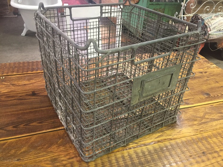 Vintage industrial wire mesh crate #1288