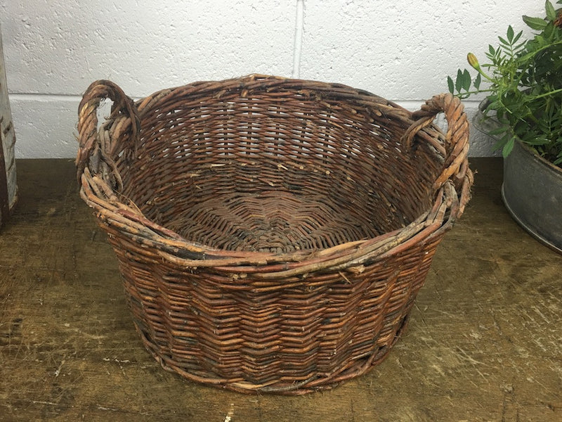Vintage industrial French bakers basket cane willow #1306 sm
