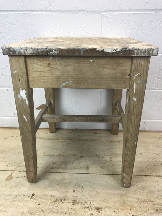 Vintage industrial French wooden farm stools #1307