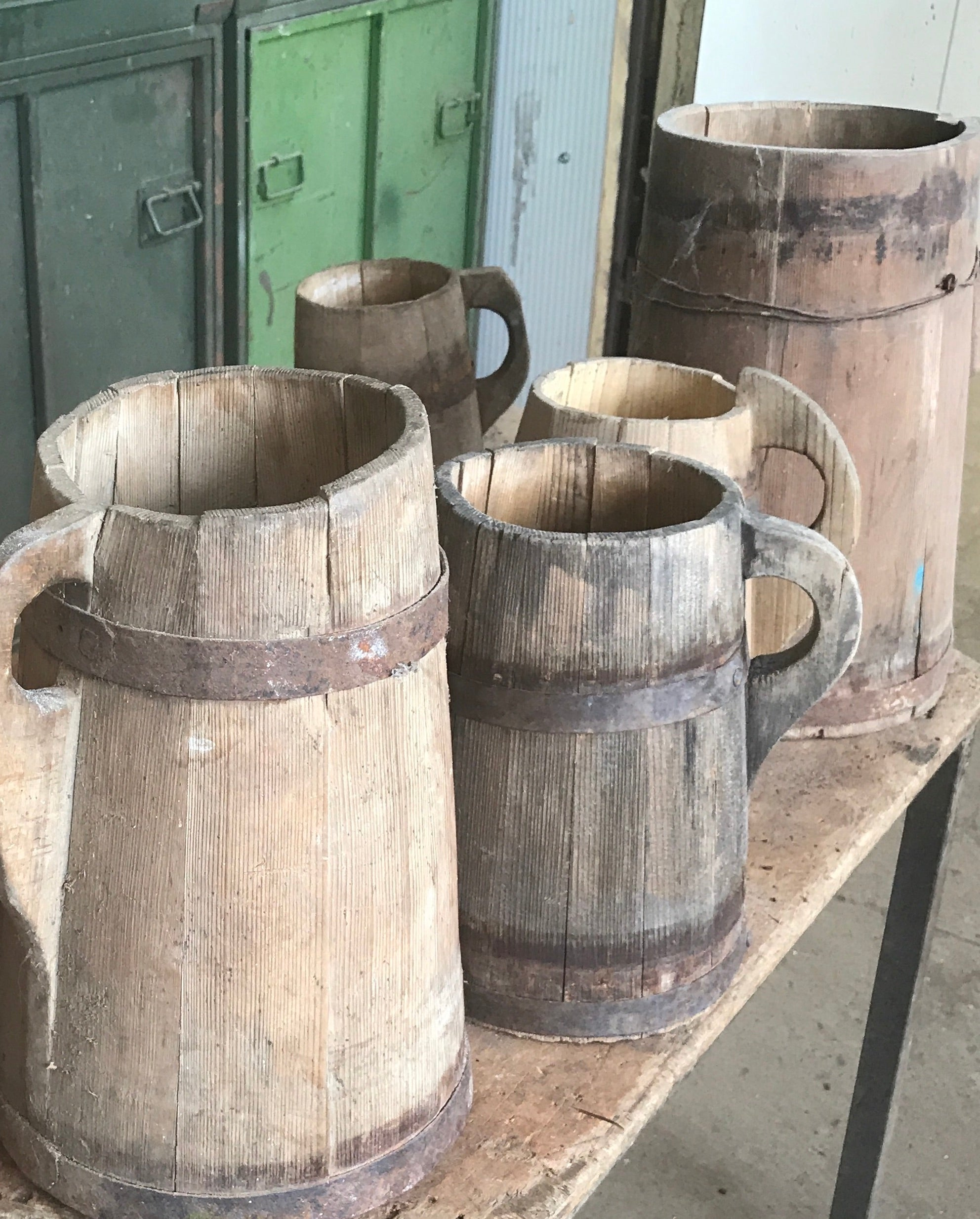 Vintage  European wooden buckets #2406