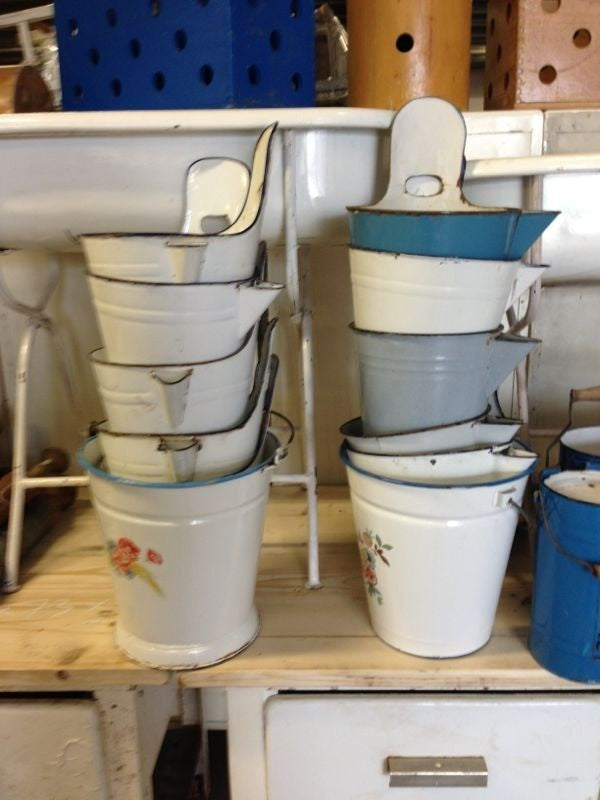 Vintage industrial European milking buckets #1335