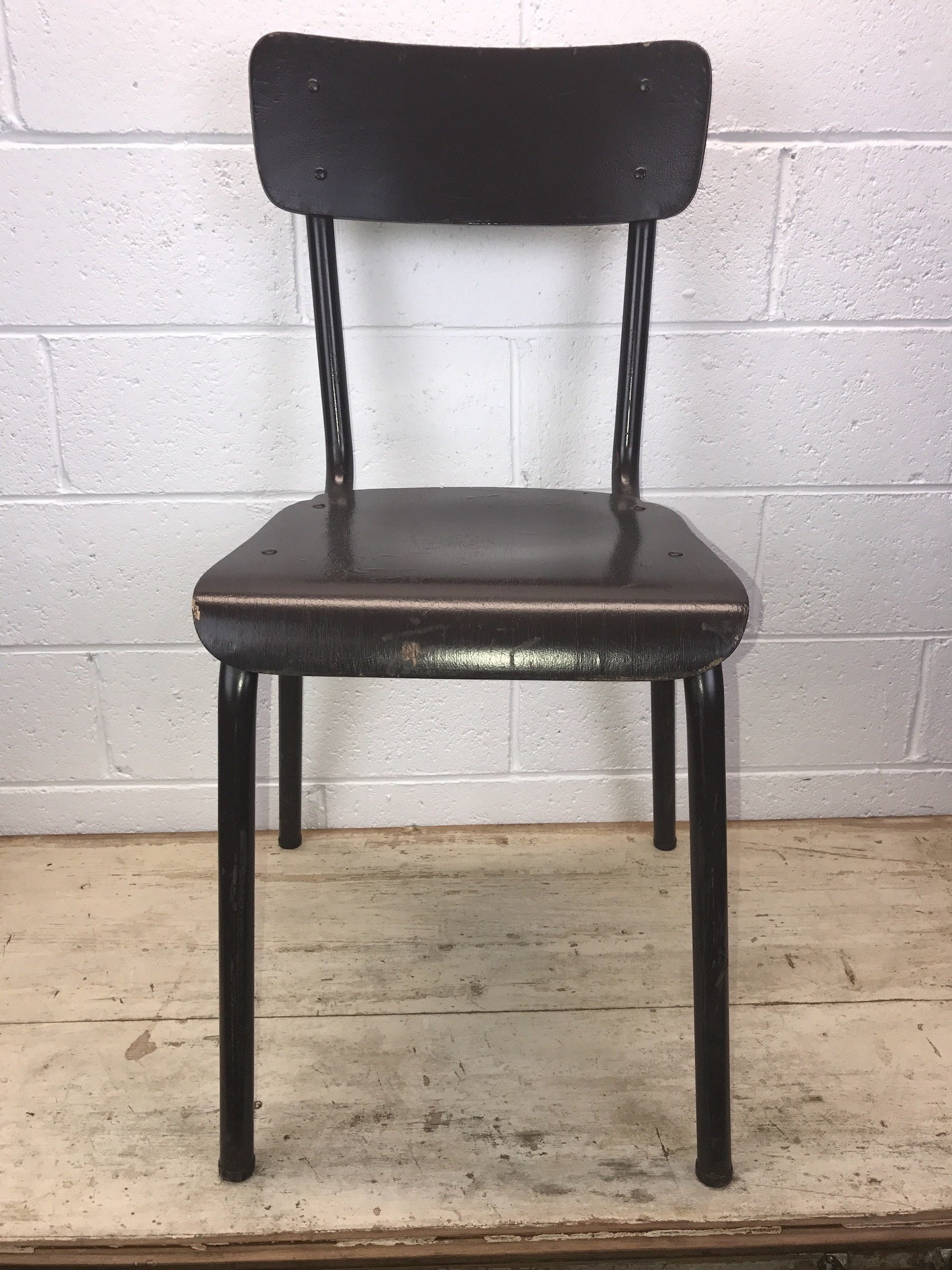 Vintage industrial Dutch school chairs  Dark brown #1402
