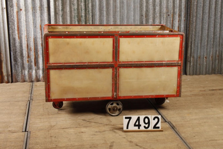 Vintage industrial Czech warehouse trolley  #2719