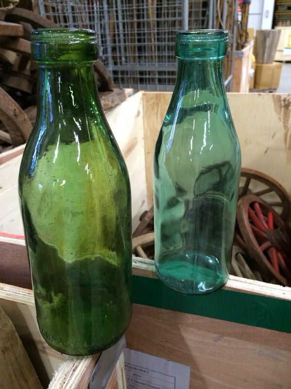 Vintage industrial Russian milk bottles  #1421