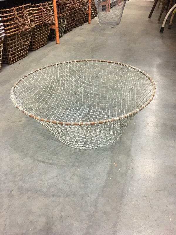 Vintage industrial wire mesh grape picking basket #1431