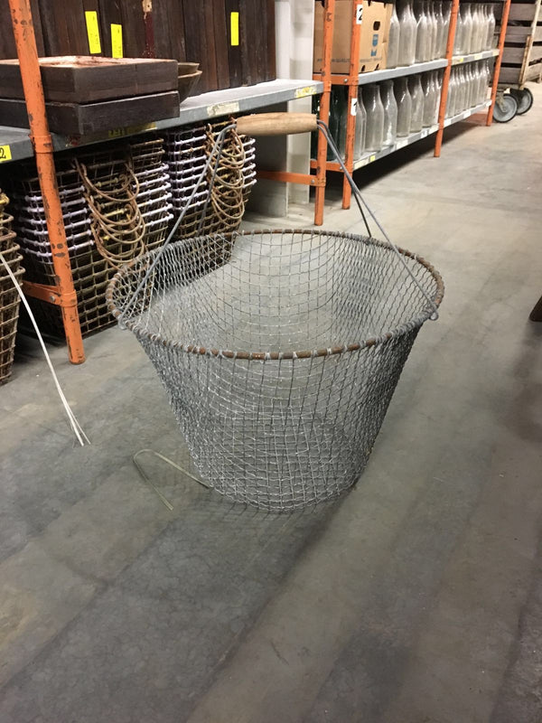 Vintage industrial wire mesh grape picking basket #1432