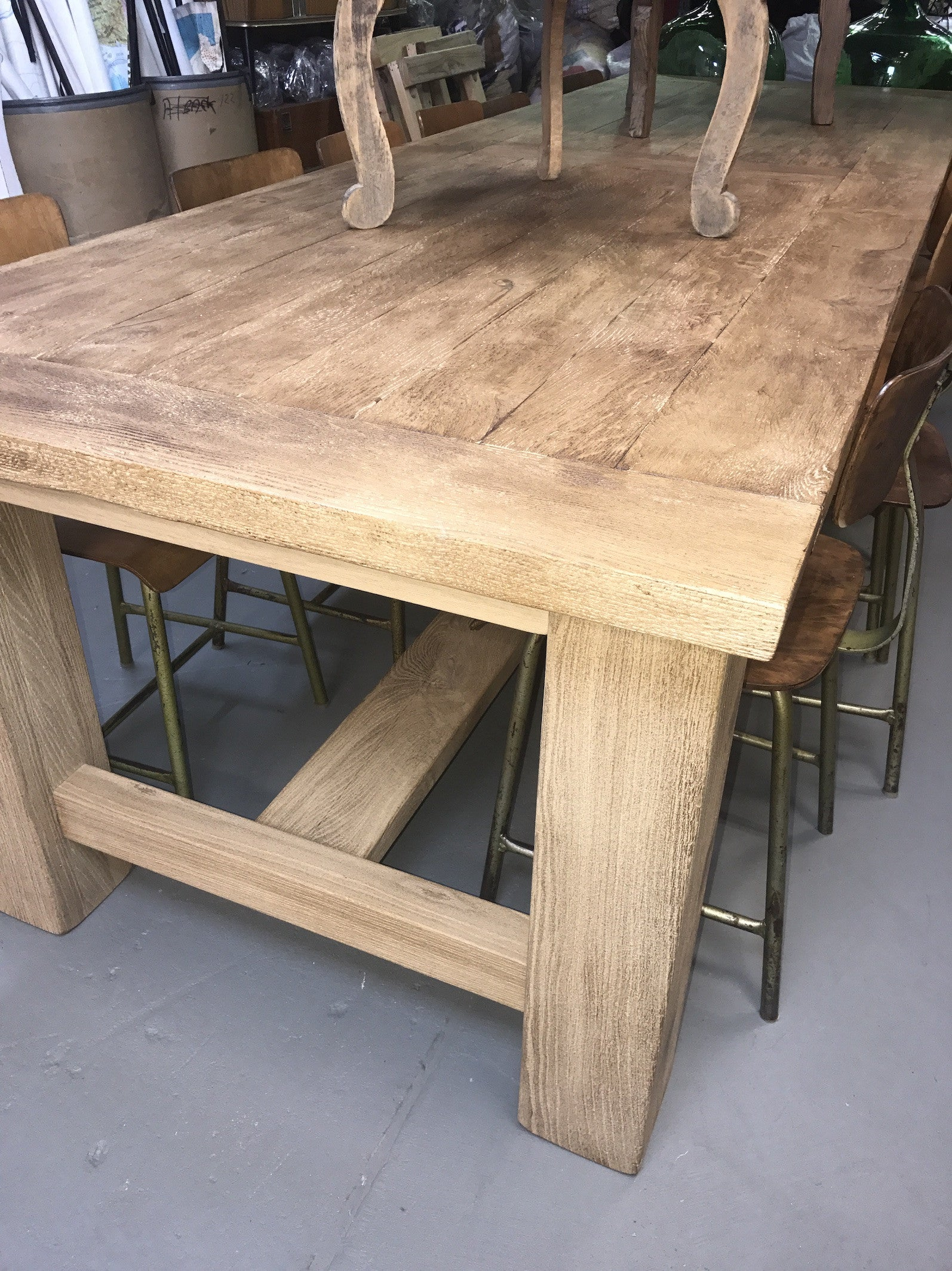 Vintage industrial French oak  kitchen table #1454