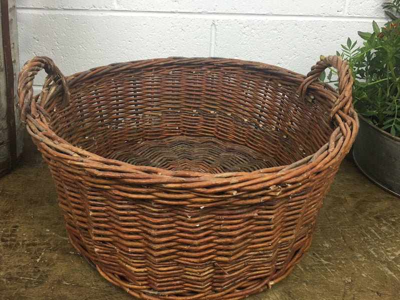 Vintage industrial French bakers baskets cane willow #1470 med