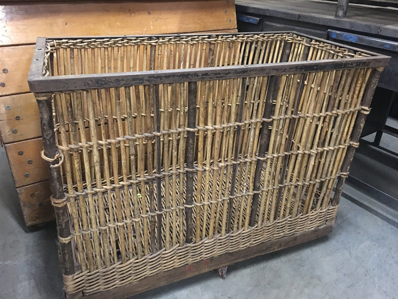 Vintage industrial French laundry trolley cart #1493