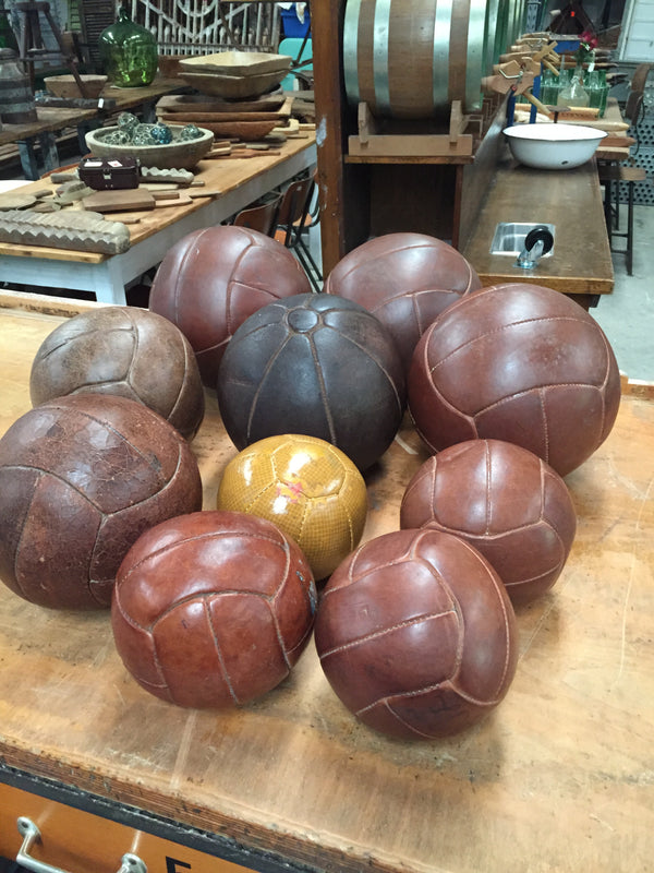 Vintage industrial French 1940s leather medicine balls #1608