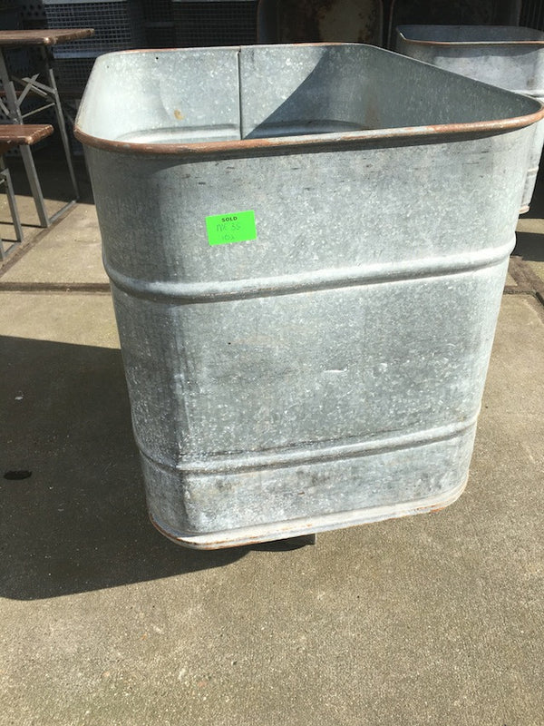 Vintage industrial French galenized laundry tub on wheels #1500