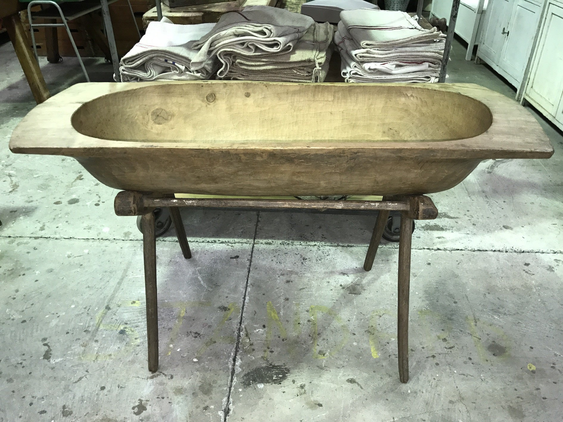 Vintage industrial French 40s Dough bowl and stand  #1591