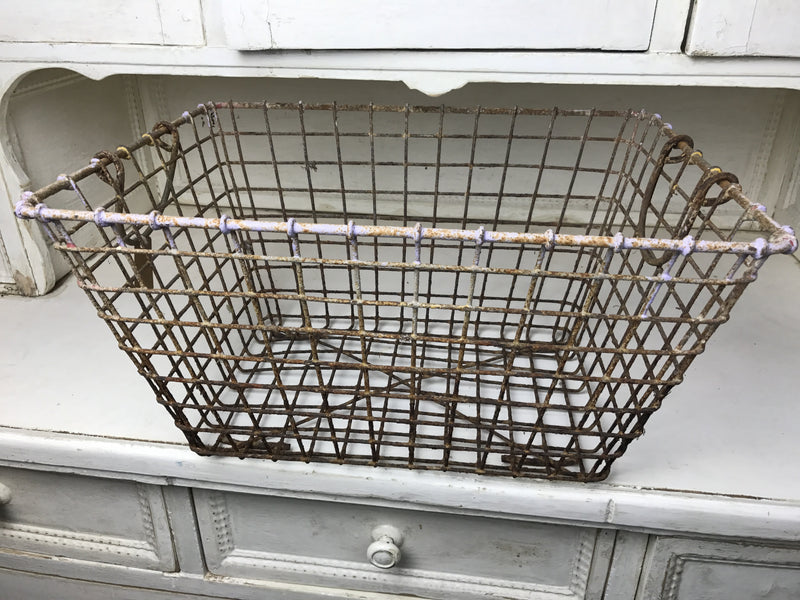 Vintage industrial French industrial 1950s oyster metal crate #1434