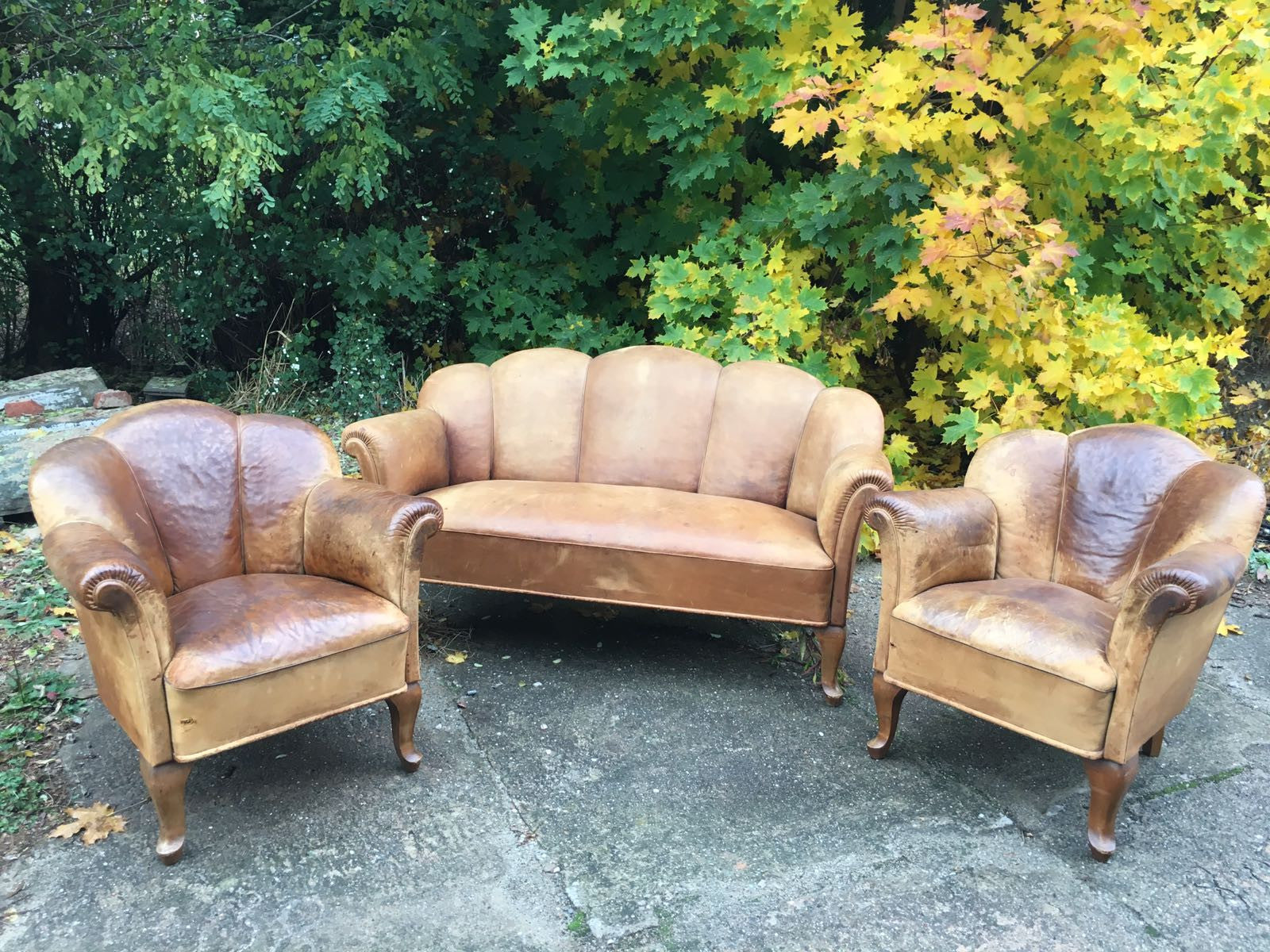 Vintage industrial French 1940s leather lounge set #1601