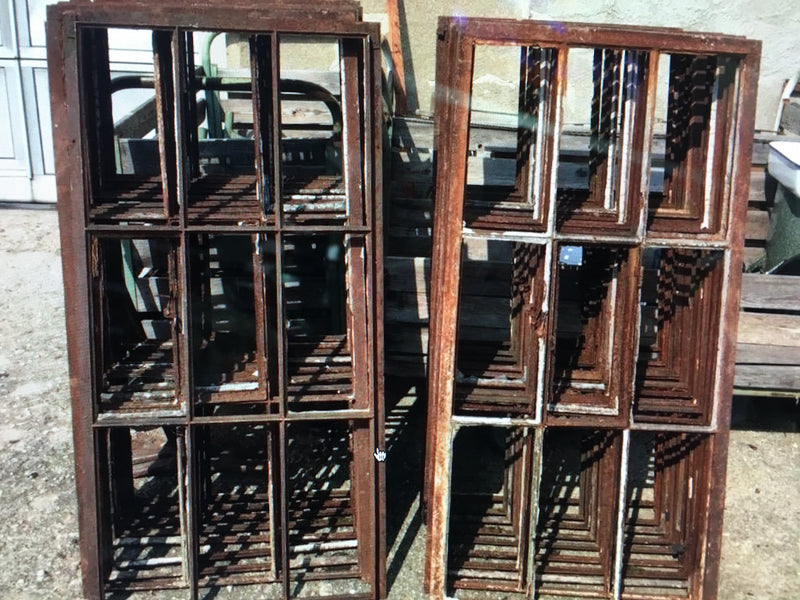 Vintage industrial European metal iron  windows #1609