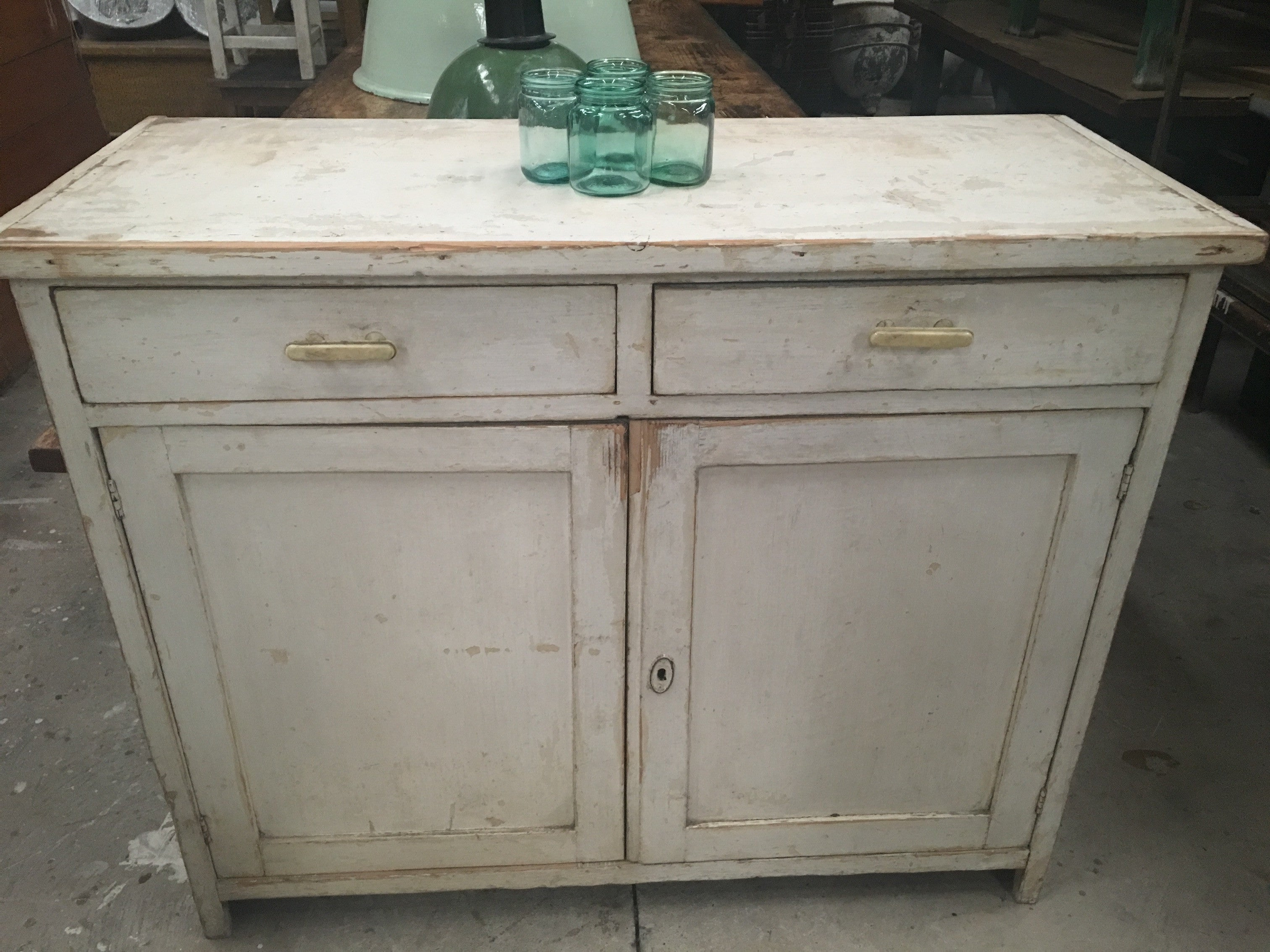 Vintage industrial European wooden kitchen cabinet #1654