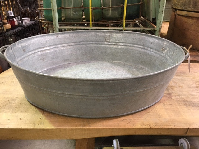 Vintage Industrial 40s Galvanized Wash Tub 1665 Fossil