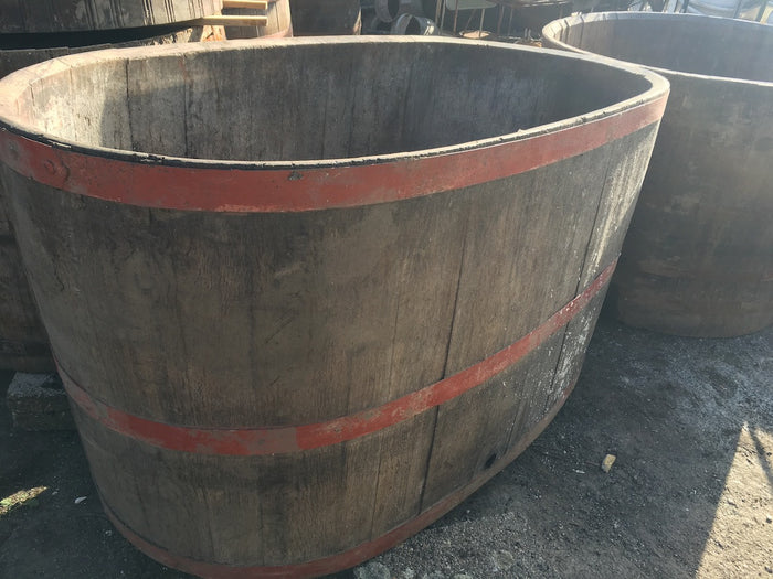 Vintage industrial French oak huge oval wine barrel #1671