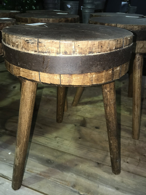 Vintage Industrial European Wooden Stools 1688 Fossil