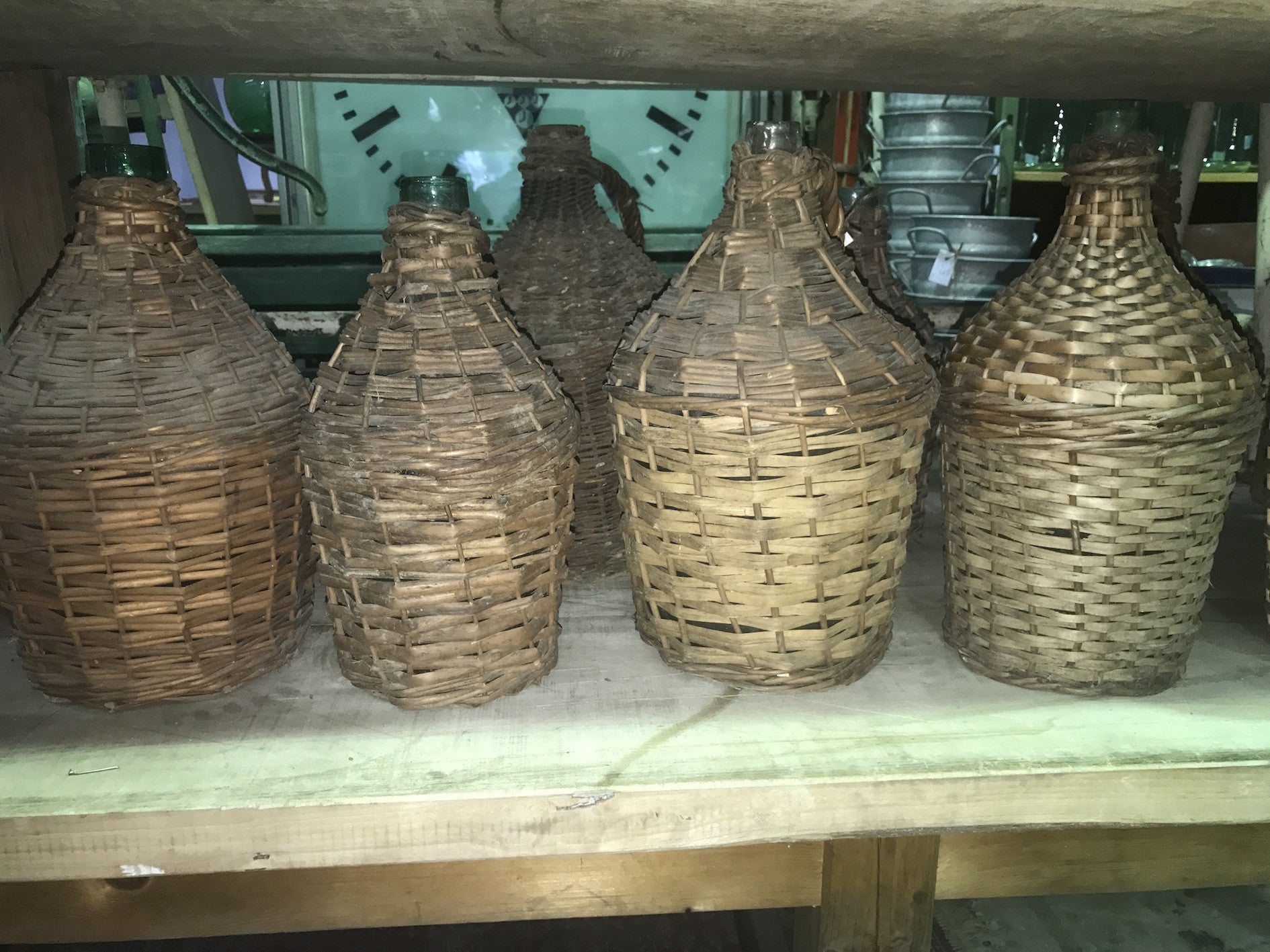 Vintage industrial European wicker wine demijohn bottles  #1701
