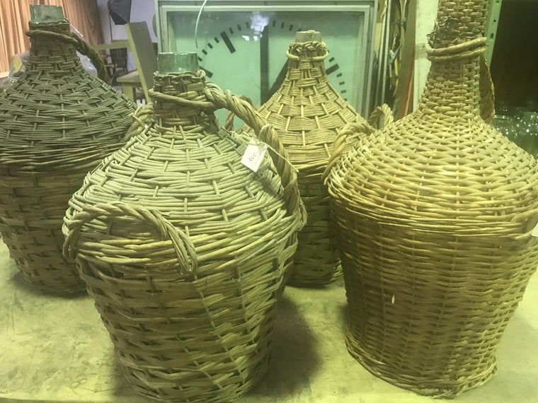 Vintage industrial European wicker wine demijohn bottles  #1703 L
