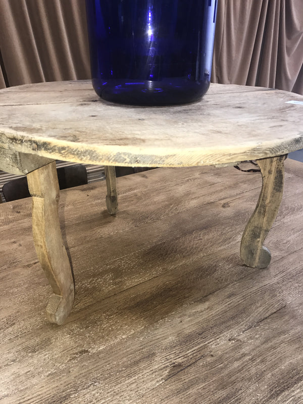 Vintage industrial French wooden small coffee table #1720