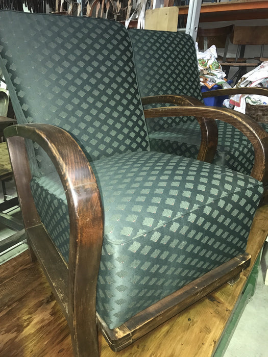 Vintage industrial Czech Halabala club chair set #1744