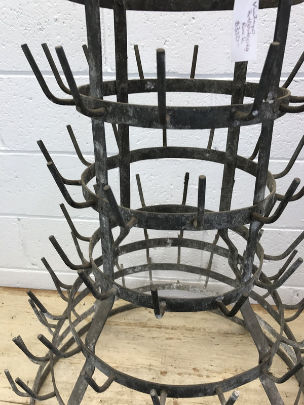 Vintage industrial French wine bottle drying rack #1773