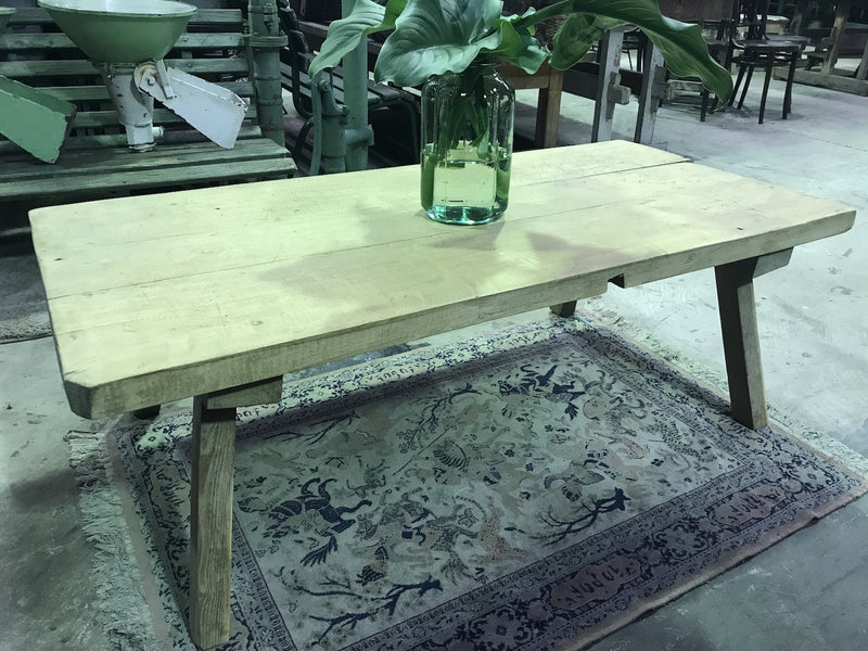Vintage industrial Czech wooden coffee table #1791