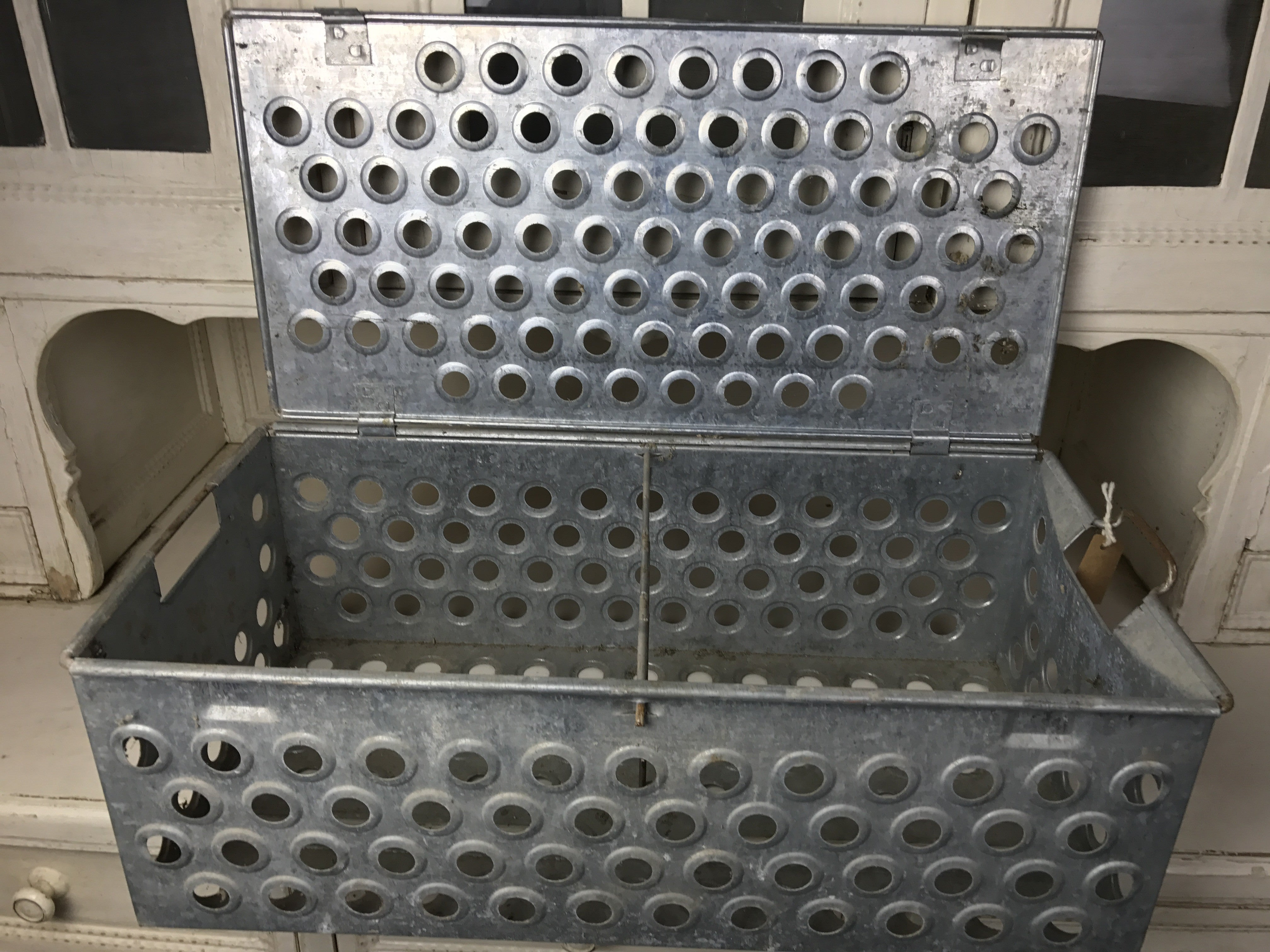 Vintage industrial lobster galvanized crates #1428.