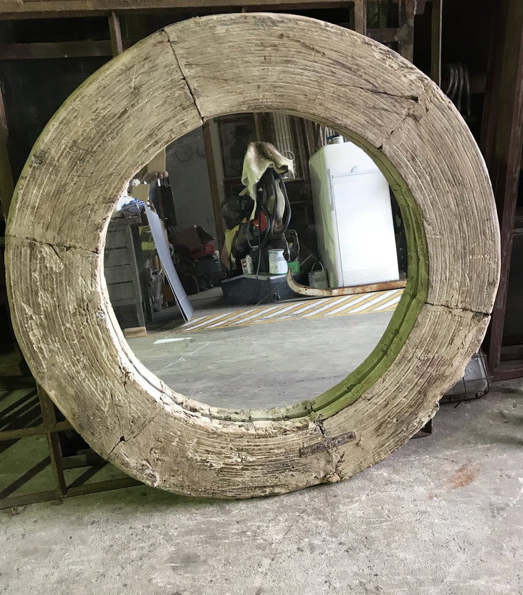Vintage European 1940s wooden wagon wheel mirror #1820