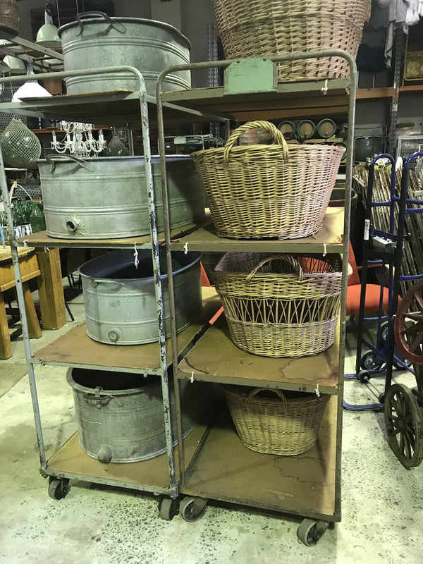 Vintage industrial French metal bakers trolley  #1821